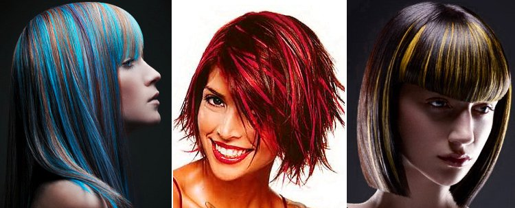 Как на черные волосы сделать красные пряди на 980