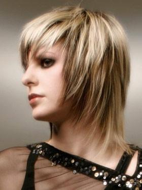 Прическа с челкой на среднюю длину волос