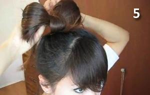 сделать бант из волос дома