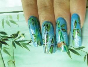 Бамбук - рисунки на ногтях просто