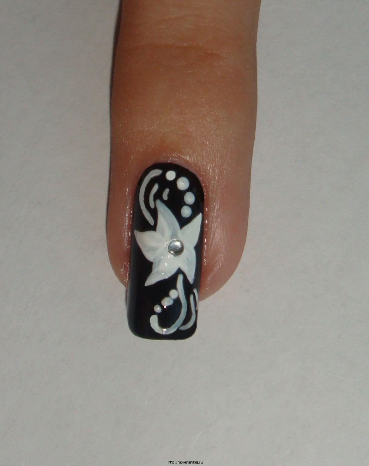 рисунки лаком на ногтях кисточкой цветы фото