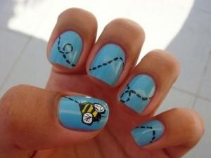 """Рисунки на ногтях иголкой схемы """"Пчелка"""""""