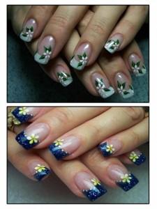 Самые простые рисунки на ногтях - ромашка