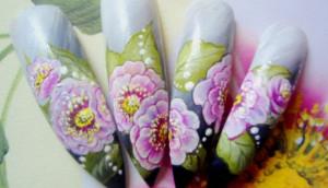 """Дизайн ногтей китайская роспись """"Распустившийся цветок"""""""