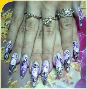 Китайская роспись ногтей - техника выполнения
